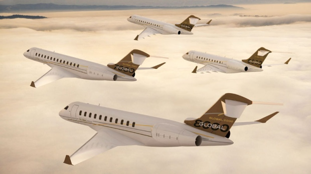 Bombardier Aerospace's Global Family jets Global 7000 and Global 8000 are shown in this illustration released on Saturday Oct. 16, 2010. (Bombardier Aerospace, Paul Bowen / THE CANADIAN PRESS)