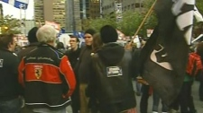 Protesters gathered in Montreal Monday to demonstrate against Bill 115.