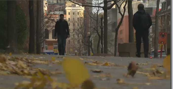Winds were gusting up to 80 kilometres per hour in Montreal Monday.