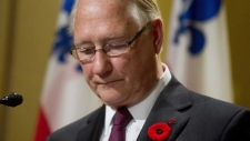 Gerald Tremblay speaks at a news conference in Mon
