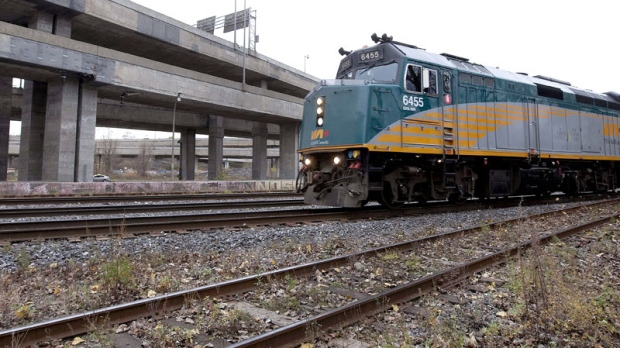 A Via Rail train runs but the Turcot interchange in Montreal on Sunday, Oct. 31, 2010. (Montreal La Presse - Robert Skinner / THE CANADIAN PRESS)