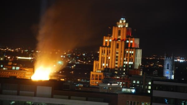 Photo of a large fire in Old Montreal near the La Presse building. Photo courtesy of Tom Kott