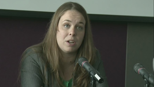 Martine Desjardins, president of FEUQ, says student groups and other organizations, want a public inquiry into police conduct during protests (Nov. 13, 2012)