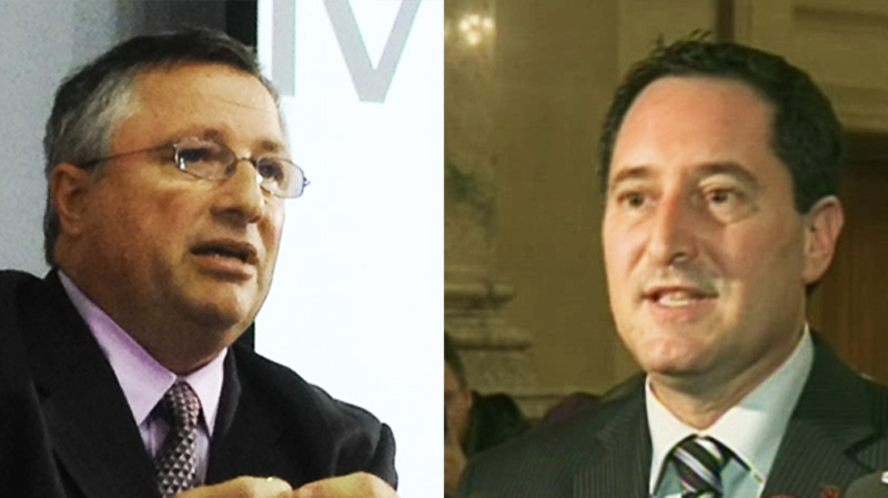 Either Richard Deschamps, (left) or Michael Applebaum (right) will be voted in as Montreal's interim mayor Friday morning.