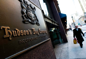 A man walks past the Hudson's Bay Company sign in downtown Toronto in this 2009 file photo. (Nathan Denette / THE CANADIAN PRESS)