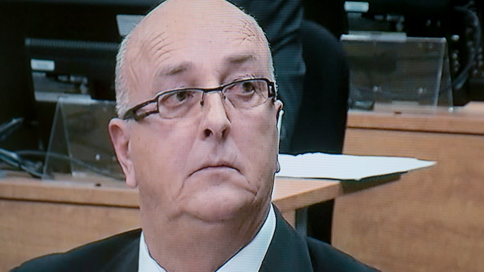 Andre Durocher testifies before the Charbonneau Commission, which is an inquiry looking into corruption and collusion in the Quebec construction industry, in this image taken off television in Montreal on Nov. 20, 2012. (THE CANADIAN PRESS/Graham Hughes)
