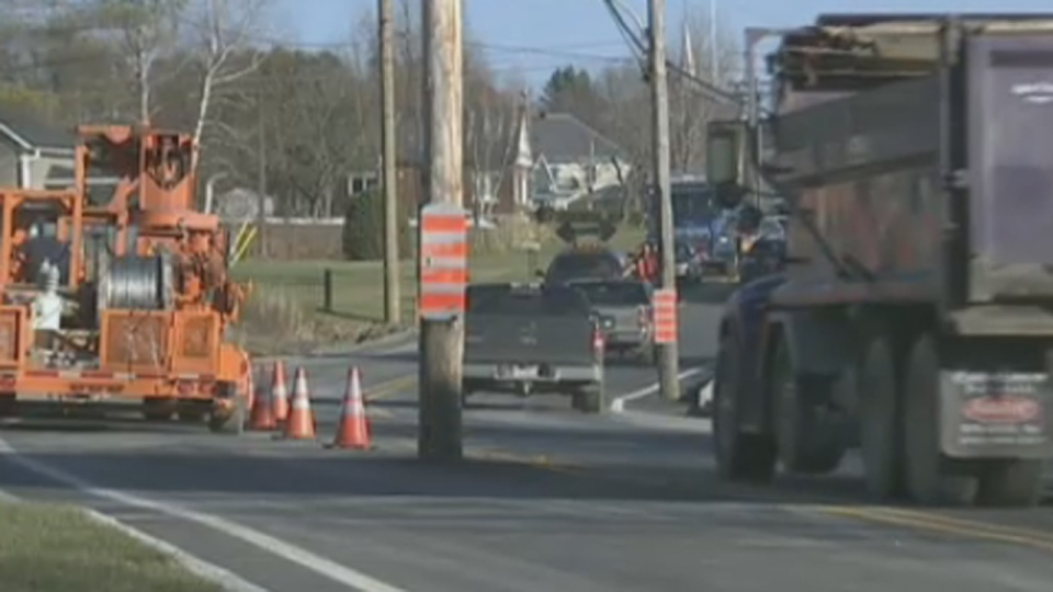 Construction crews moved a road, but left this utility poll smack in the middle. (Nov. 19, 2012)
