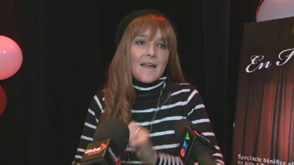 Tanya St-Arnauld spoke at a gala benefit concert on Wed. Nov. 28, 2012, in her first public appearance since August. Nikolas Stefanatos, 27, is charged with splashing her with acid (CTV Montreal)