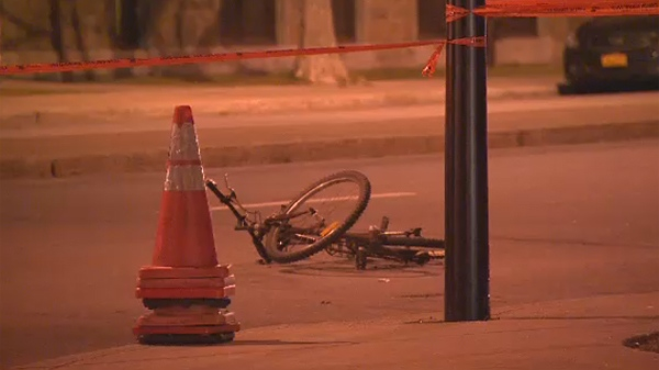 Hours after its rider was taken to hospital, a bicycle lies at the corner of Roy Rd. and Berri St. in Montreal. A police car hit the 75-year-old cyclist at 8:45 p.m. Thursday (Dec. 7, 2012)