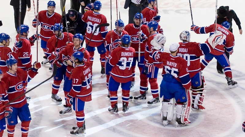 The Canadiens haven't worn the red, white and blue since April 7, 2012 when they saluted the crowd after their final regular season game last season (CP file photo).