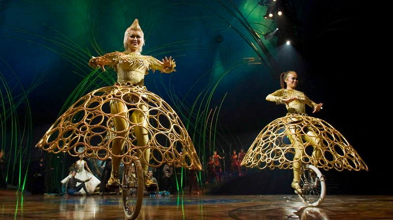 Artists perform during the unveiling of Cirque Du Soleil's new show 'Amaluna', in Montreal, Wednesday, April 4, 2012. THE CANADIAN PRESS/Graham Hughes