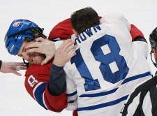 Montreal Canadiens' Brandon Prust (8) fights with