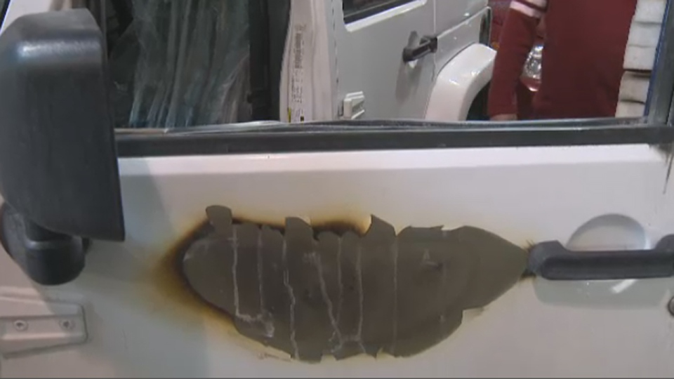 This is the door of a 2011 Jeep Wrangler that caught fire during the holidays.