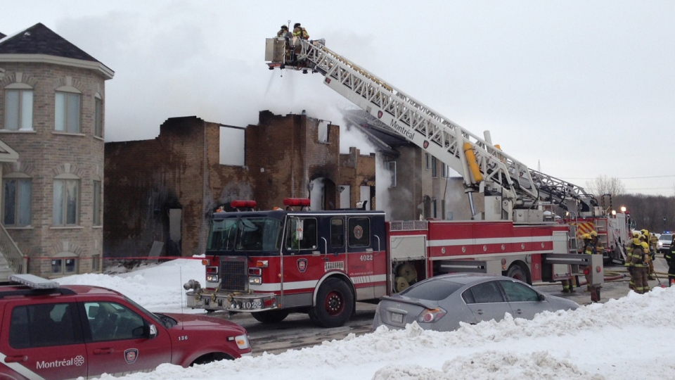 An explosion followed by a fire destroyed a house in East-end Montreal on Thursday, Jan. 24, 2013 (CTV Montreal / Max Harrold)