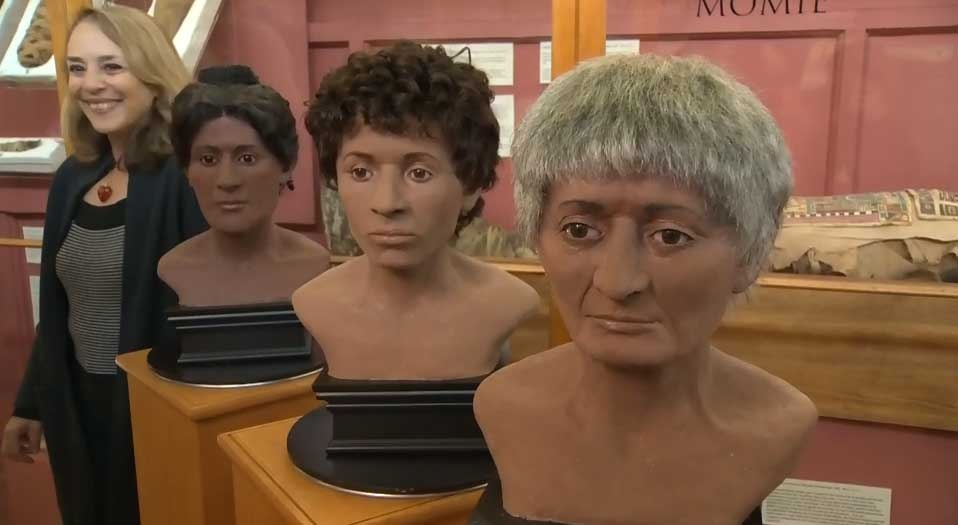 Facial reconstructions of McGill's three mummies with forensic artist Barbara Lawson.