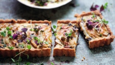 Swiss Chard, Pear and Gruyere tart