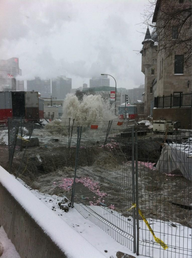 A water main break near McGill University flooded parts of the campus. (photo: Julie Brisebois)