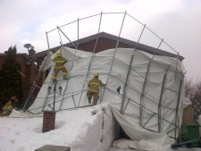 A collapsed car shelter in Riviere-des-Prairies. (