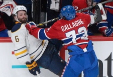 Montreal Canadiens' Brendan Gallagher checks Buffa