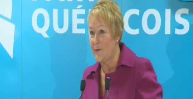 Premier Pauline Marois addresses PQ delegates at a convention in Drummondville.