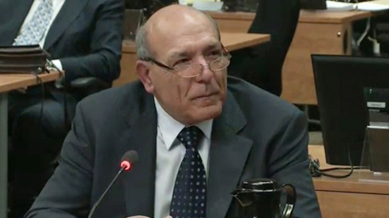 Nicolo Milioto testifies at the Charbonneau Inquiry in Montreal, Monday, Feb.18, 2013 in this screen grab image. (Charbonneau Inquiry)