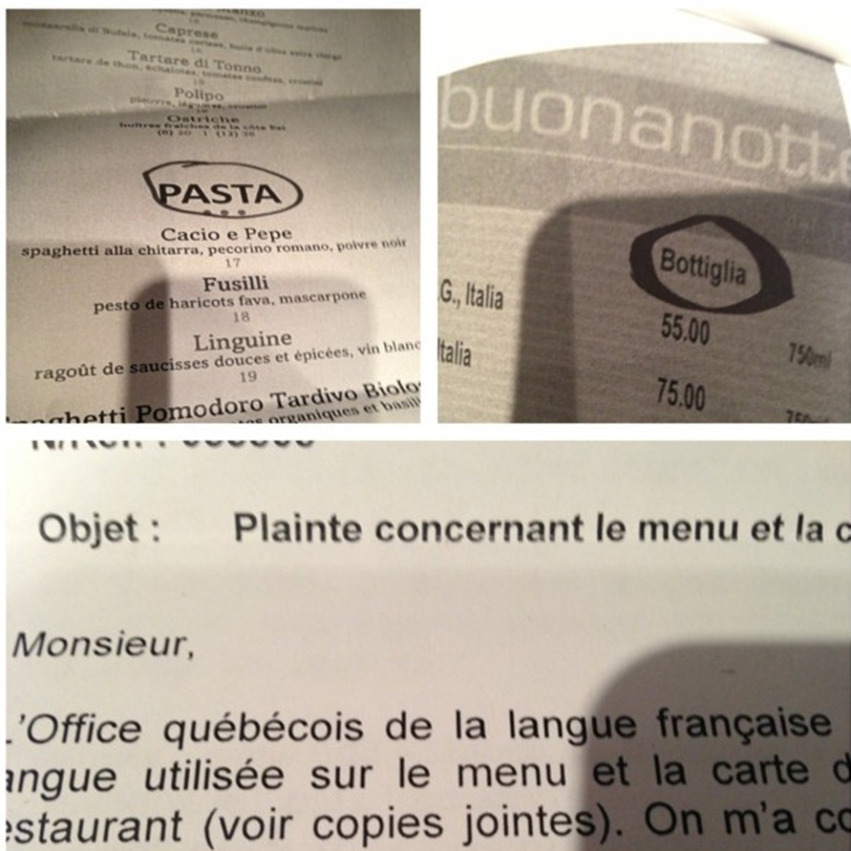 Massimo Lecas took this photo of his letter from the Office quebecois de la langue francaise, which points out that 'pasta,' 'bottiglia' and other words are not in French and require a translation.
