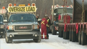 To call it an 'oversized load', would be an understatement, a mammoth convoy to move oilsands equipment left Edmonton early Tuesday morning.