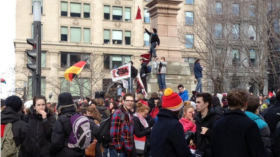 Cindy Sherwin estimates 3 to 4,000 students rallied in Victoria Square on Feb. 26, 2013.