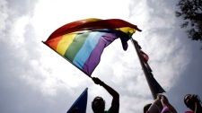 Same-sex marriage advocate Niko Salas, center, waves a rainbow flag during a protest in Los Angeles, Tuesday, May 26, 2009. (AP Photo / Jae C. Hong)