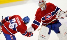 Carey Price and PK Subban celebrate following shutout over Leafs (Feb. 11, 2011)