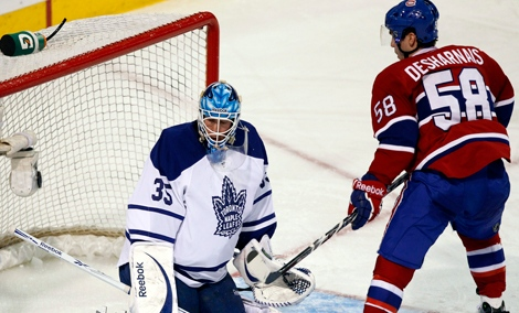 Rookie David Desharnais sparkled Saturday night against the Maple Leafs (Feb. 12, 2011)