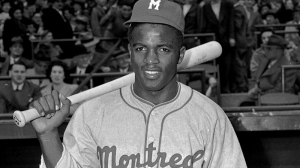 Montreal Royals Jackie Robinson poses in this April 18, 1946 photo.  (AP / John J. Lent)
