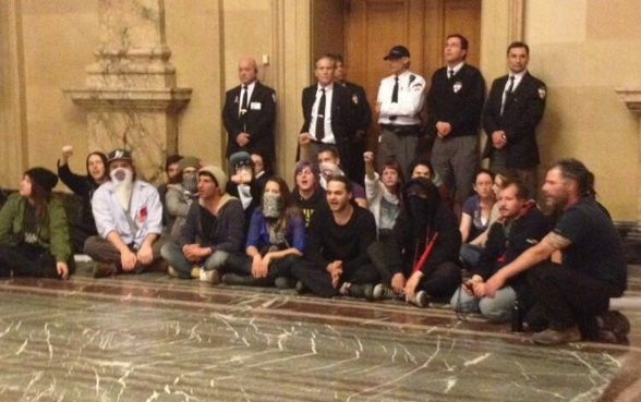 Demonstrators sit-in after P6 vote
