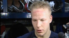Montreal Canadiens forward Lars Eller, who scored two goals against the Boston Bruins, responds to questions about the hit on Max Pacioretty.(March 9, 2011)