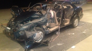 The crumpled wreck of a car was displayed to high school students to show them that a car does not offer enough protection to save a life (May 15, 2013, CTV Montreal/Maya Johnson)