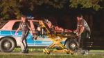 Paramedics wheel a stabbing victim past a police car into their ambulance. (May 21, 2013)