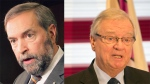 NDP leader Thomas Mulcair, seen at left, explained that investigators asked him about his relationship with Gilles Vaillancourt. (CP file photos)