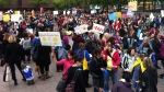 Several thousand operators and staff at privately-run daycare protested $15 million in provincial budget cuts on Wed. May 22, 2013 (CTV Montreal/Aphrodite Salas)