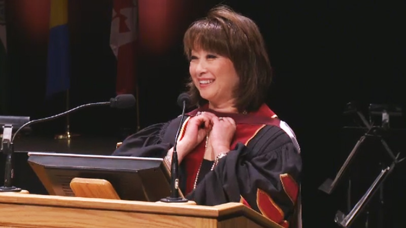 Takahashi regaled the grads with some funny stories and solid advice. (CTV Montreal)