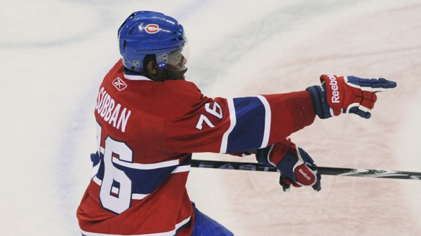 PK Subban celebrates after scoring the winning goal against the Chicago Blackhawks, April 5, 2011 (The CANADIAN PRESS/Graham Hughes)