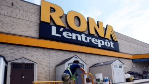 A customer brings back old paint cans for recycling at a Rona store in Laval, Que. on Thursday June 27, 2013. (Ryan Remiorz / THE CANADIAN PRESS)