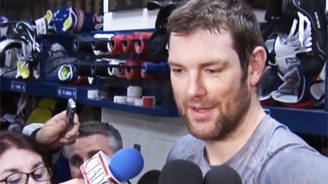 Hal Gill spoke to reporters prior to Game 6 in Montreal (April 26, 2011)