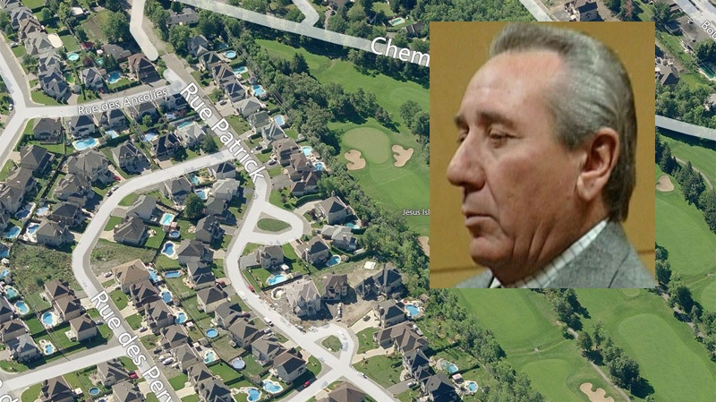 Vito Rizzuto, inset, has moved into a home near a golf course in Laval. (Satellite map image Bing Maps)