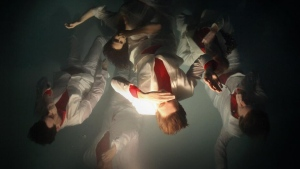A publicity photo of the band Arcade Fire.