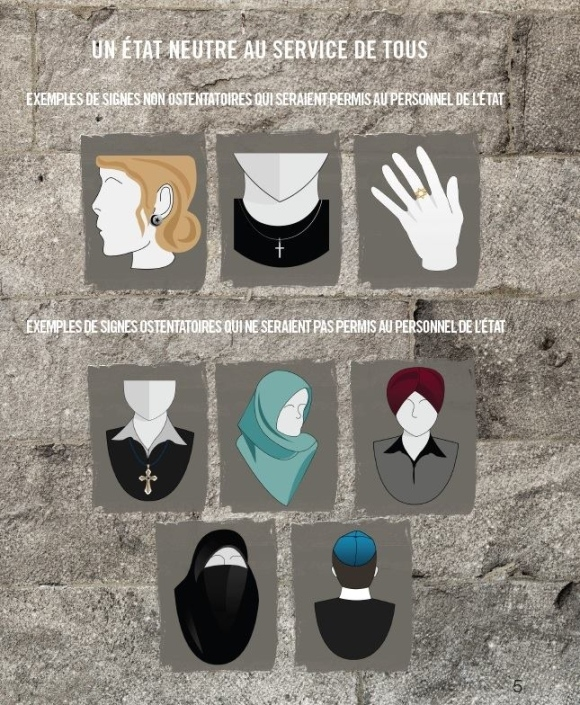 The PQ government provided this example of acceptable and unacceptable religious symbols for all government-paid employees, if its Charter of Quebec Values becomes law. (Sept. 10, 2013)