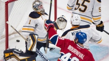 Montreal Canadiens' Michael Bournival (49) celebra