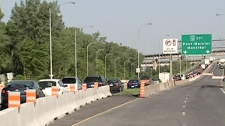 Traffic is restricted from using the southbound span of the Mercier Bridge. (June 16, 2011)