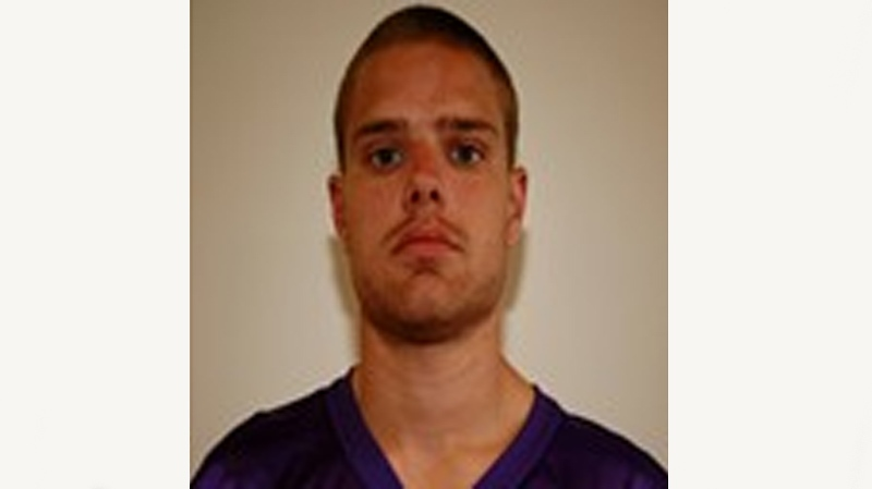 Jonathan Fortin, a freshman on the Bishop's Gaiters, suffered what appeared to be a serious on-field injury at McGill Friday. (Image: gaiters.ca)