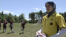 Sarah Benkirane has been barred from refereeing while wearing her hijab.