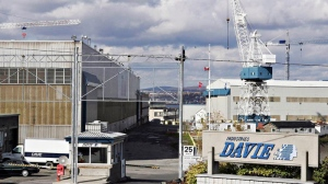 The entrance of the Davie shipyard in Levis, Que., is shown on Oct. 13, 2006. Quebec's Davie Yards has been saved once again after a Quebec Superior Court judge approved a deal to sell the shipbuilder to Ontario's Upper Lakes Group, Thursday July 21, 2011. (THE CANADIAN PRESS/Jacques Boissinot)